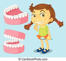 Little girl with clean teeth