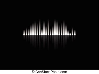 White concept equalizer design on black background