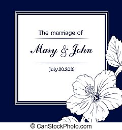 congratulation or invitation card template with hibiscus flowers. Vector illustration.