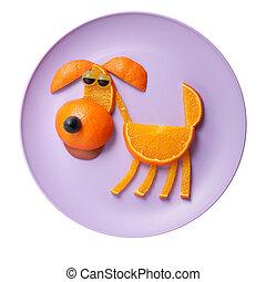 perro, hecho, de, naranjas, en, rosa, placa,