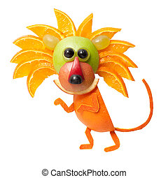 furtivo, león, hecho, de, naranja, en, aislado, Plano...