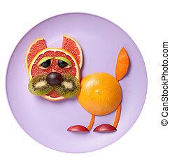 divertido, gato, hecho, de, toronja, y, naranja, en, placa,