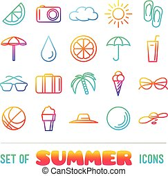 Vacation themed icons with thin lines and gradient Panama...