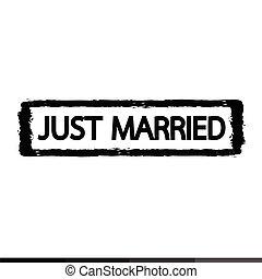 Grunge just married rubber stamp illustration design