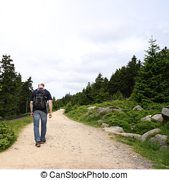 Walking on the Goetheweg at the foot of Brocken in the Harz...