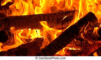 High speed camera close up video of burning firewood clip