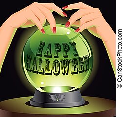 Background with magic sphere - Happy Halloween background...