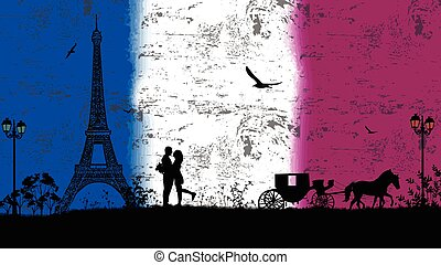 Carriage and lovers in Paris against Frace flag, romantic...