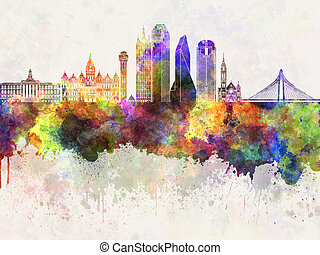 Dallas skyline in wb - Dallas skyline in watercolor...