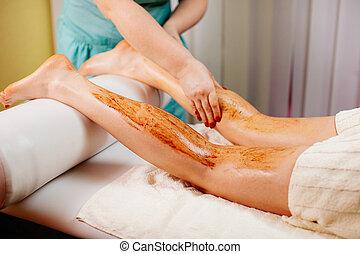 scrub body massage pampering close up