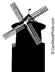 Mill - Old mill on a white background