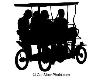 Rickshaw - Chinese rickshaw with people on a white...