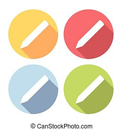Pencil Symbol Flat Icons Set - Pencil Symbol Flat Style...