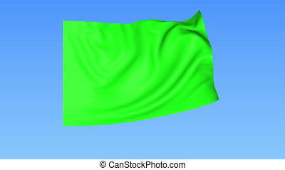 Waving glossy green flag, seamless loop. Blue background....