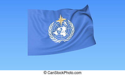 UN World Meteorological Organization WMO flapping flag....