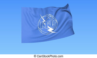 UN International Telecommunication Union ITU flapping flag...