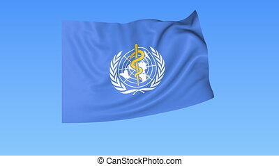 UN World Health Organization WHO flapping flag Seamless...