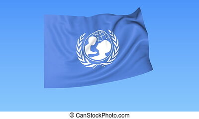 UNICEF flapping flag. Seamless looping, 4K ProRes with alpha...