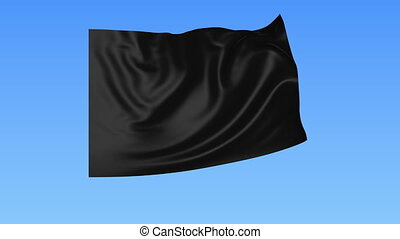 Waving glossy black flag, seamless loop. Blue background....