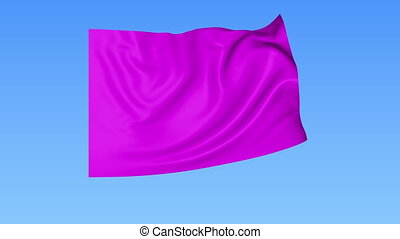 Waving glossy magenta flag, seamless loop. Blue background....