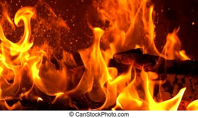 High speed camera close up shot of burning firewood and...
