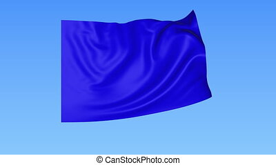 Waving glossy blue flag, seamless loop. Blue background....