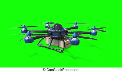 Blue drone delivers the goods. Hexacopter designed to carry. The camera flies around the object in a circle, counterclockwise. Green background for video.