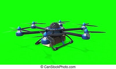 Blue drone delivers the goods. Hexacopter designed to carry....