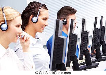 Telephone conversation - Group of customer representatives...