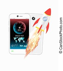 smartphone with speed test meter an