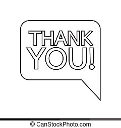 Thank you sign icon Speech bubble Illustration design