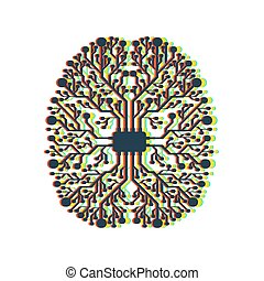 Motherboard brain on white background