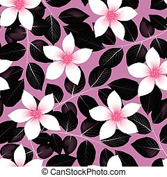 Tropical pink hibiscus flowers with black leaves seamless pattern