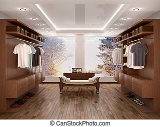 wide closet with a large window, modern home interior 3d...