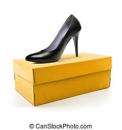 alto, calcanhar, sapato, e, caixa