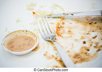 Empty steak dish after food on the table