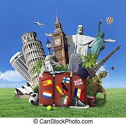 Concept of travel. The most popular attractions of the world...