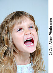 happy shouting girl - 5 years old girl shouts with...