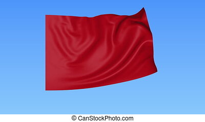 Waving glossy red flag, seamless loop. Blue background. Part...