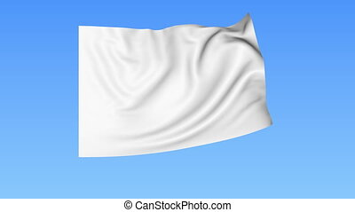 Waving glossy white flag, seamless loop Blue background Part...