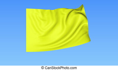Waving glossy yellow flag, seamless loop Blue background...
