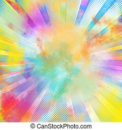 Pop-art colourful burst - Background of burst of bright...