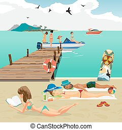 Sea landscape summer beach. Man and woman sunbathing lying on the sand, the girls sit in a motor boat from the pier. Vector flat cartoon illustration.