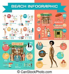 Vector Infographic set flat cartoon design about beach....