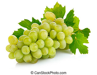 fresh grape fruits with green leaves isolated on white...