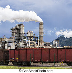 industrial scene - Chemical plant for lumber factory with...