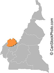 Map - Cameroon, Northwest - Map of Cameroon with the...