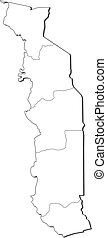 Map - Togo - Map of Togo, contous as a black line