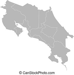 Map - Costa Rica - Map of Costa Rica with the provinces