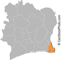 Map - Ivory Coast, Sud-Comoe - Map of Ivory Coast with the...